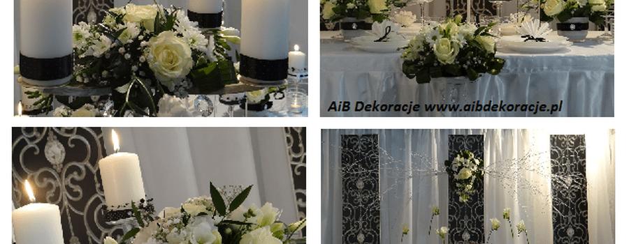 Czarno-biała dekoracja sali weselnej