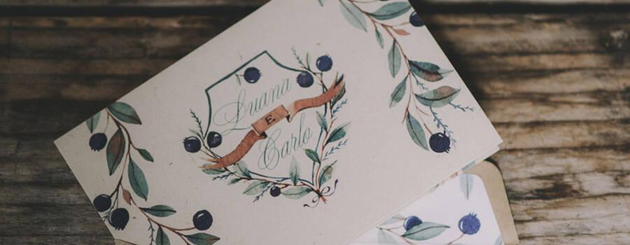 Invito più busta personalizzata: mirto ad acquarello e stile vintage - foto di Matrimoni all'Italiana