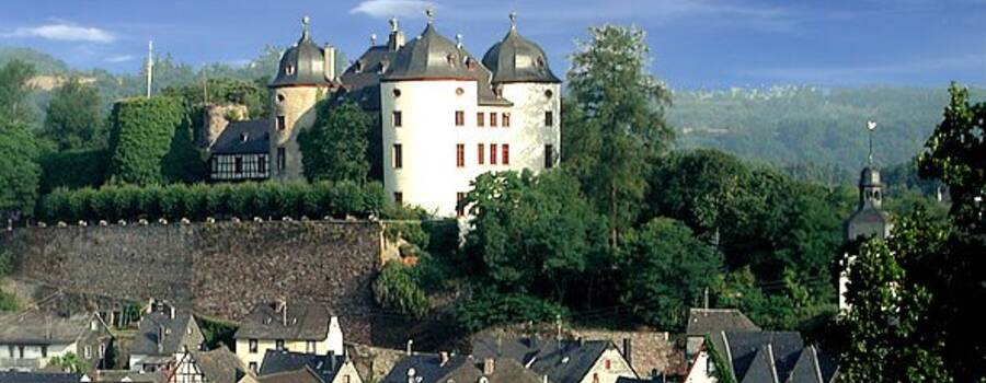 Beispiel: Panoramablick auf das Schloss, Foto: Schloss Gemünden.