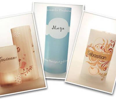 Tischkarten zur Hochzeit aus Windlichtern mit modernen Motiven.  Alle Vorlagen online gestalten.