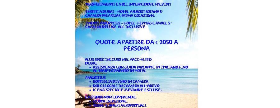 Idea di viaggio di nozze Duabi Mauritius