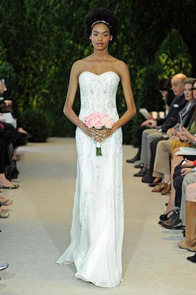 Vestido de novia 2014 con corte recto, escote strapless en forma de corazón y brocados