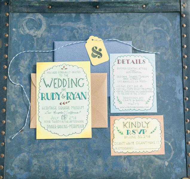 Invitaciones de boda en color azul - Honey Honey Photography