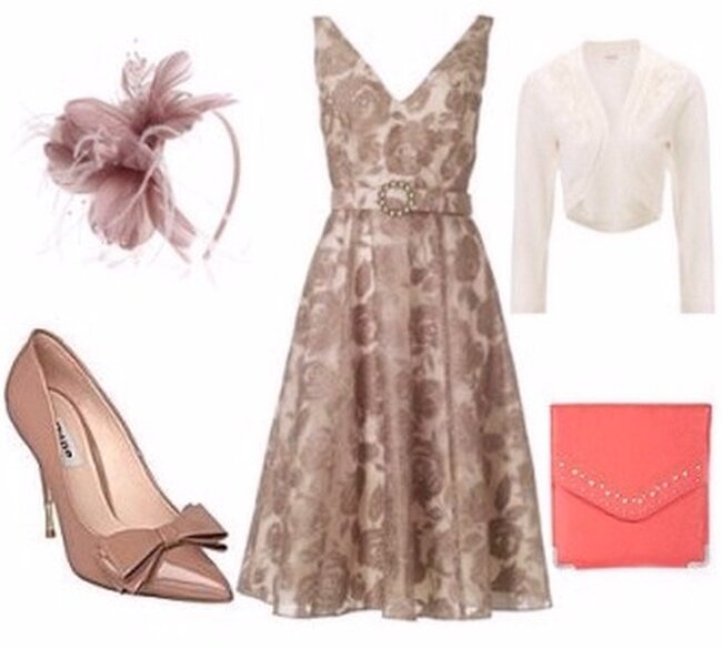 Vestido, zapatos, bolso, diadema y caqueta.   Foto: House of Fraser, Monsoon, New Look, Monsoon