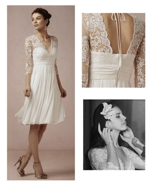 Collage con un look de novia inspirado en la cantante Lana del Rey