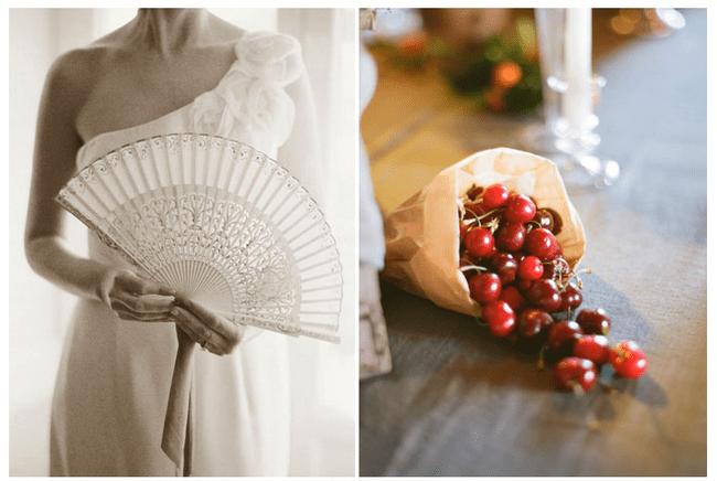 Un abanico y frutos rojos, detalles rústicos que enmarcaron la temática de la boda - Foto Aaron Delesie