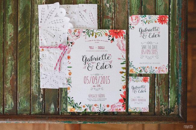 Convite super charmoso ideal para um casamento no jardim.