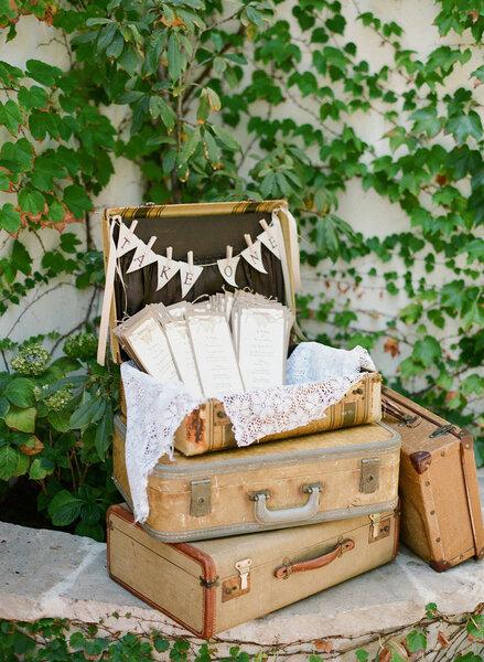 Maletas vintage para decoración de boda - Foto Lane Dittoe Fine Art Wedding Photographs