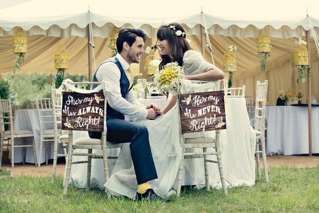 Hochzeitsdekoration in den Farben Weiß, Gelb und Grün