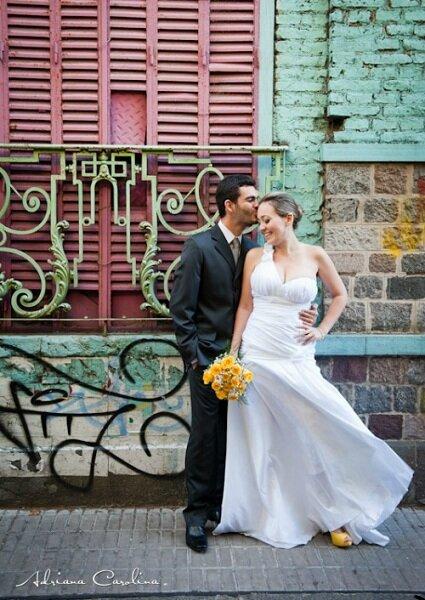 Recém-casados e felizes em Buenos Aires