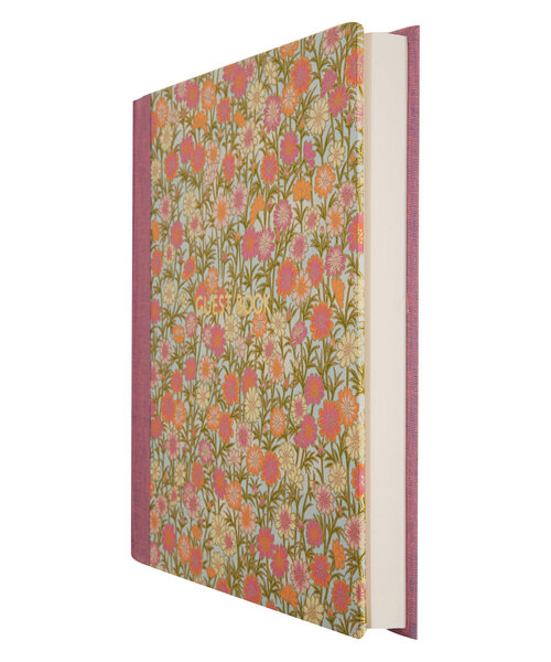 Liberty London, PURPLE DAISIES SILK SCREEN GUEST BOOK.