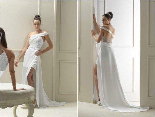 Vestido de novia 2014 color blanco con cauda larga, abertura al frente y escote asimétrico - Foto Gritti Spose