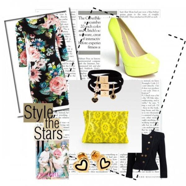 Vestido de H&M, Blazer de Yves Saint Laurent, Zapatos Pumps ALDO, Clutch de Christopher Kane