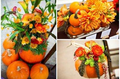 Jesienne owoce i warzywa w dekoracjach (i nie tylko) na weselnym stole