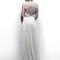 Vestido de novia largo con marco en la espalda y apliqués de cristales