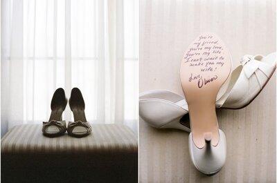 Mensagens embaixo do sapato da noiva
