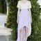 Vestido de novia 2014 Delpozo con falda larga estilo high low y cauda barrida en color violeta, y top en tono nude con detalles de transparencias