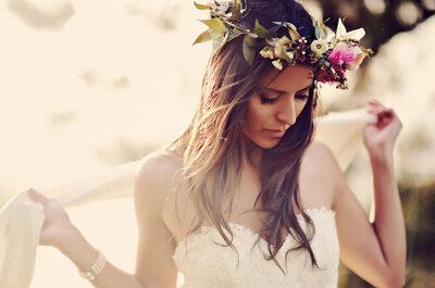 Las coronas de flores están de moda para las novias de 2015