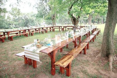 Mesas de madera, la opción más trendy para decorar tu boda 2016