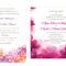 Invitaciones de boda coloridas en color rosa con impresiones de flores en la misma gama de tonos