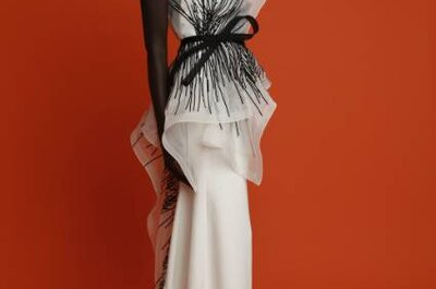 Vestido de noiva branco e preto? Espreite este sofisticado modelo de Angel Sanchez