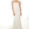 Vestido de novia largo con escote strapless, tela holgada y cola