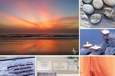 Collage de inspiración para decorar una boda en la playa al anochecer