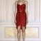 Vestido de fiesta corto en color rojo intenso con escote strapless