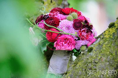 Ramos de novia en color vino, fucsia y lila