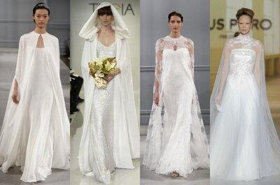 Vestidos de novia con capa: un toque de distinción para tu boda en 2014