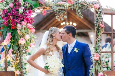Casamento ao ar livre Tatiana & Tiago: rústico, chic e mega romântico!