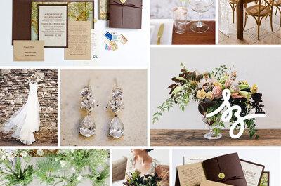 Una boda en caoba: Texturas de encanto para armonizar la decoración de tu boda