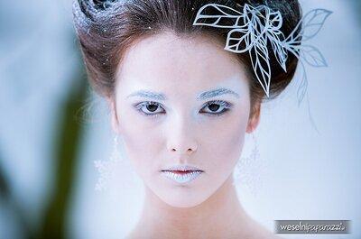 Zimowa stylizacja panny młodej - Królowa Śniegu