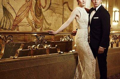 Elegante sesión de fotos pre boda estilo Art Deco