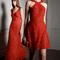 Vestidos de fiesta 2014 en color rojo intenso con aplicaciones y brocados