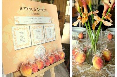 Owoce w roli dekoracji ślubnej: cytryny i brzoskwinie