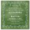 Invitación de boda con fondo en color verde esmeralda y letras nude