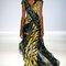 Vestido de fiesta largo con telas cruzadas inspiradas en animal print y escote en V