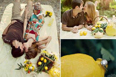 Romantyczna sesja narzeczeńska na pikniku.