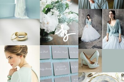 Collage de inspiración para una boda romántica en color azul suave celeste