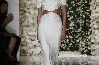 Reem Acra otoño 2015: Vestidos de novia con detalles de encaje, fantásticas faldas y cuellos ilusión