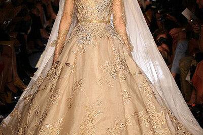 Elie Saab Alta Costura 2013: Vestidos en color oro y nude