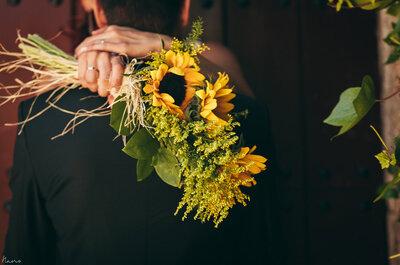 Buquês de noiva com flores amarelas
