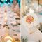 Mesa de boda decorada con velas y flores.