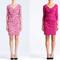 Vestidos cortos en color rosa para San Valentín con mangas tres cuartos, fruncidos y escotes discretos en V