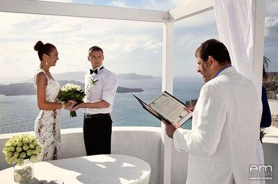Ślub w turkusowym, greckim raju! Piękna para przysięgała sobie miłość na Santorini.