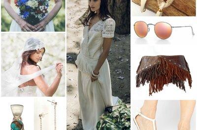 Look pour une mariée hippie chic : une robe Laure de Sagazan et ses 10 accessoires