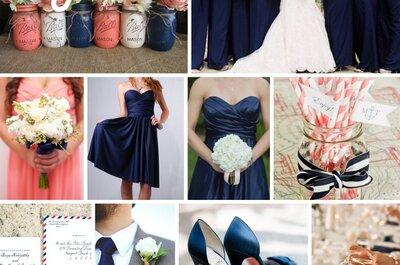 Coral y marino: Dos tonalidades que marcarán contraste y frescura en tu boda