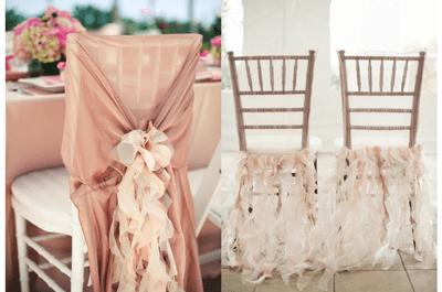 Decoraciones originales para las sillas del banquete de bodas