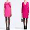 Vestidos cortos en color rosa para San Valentín con volantes en el pecho y estilo cruzado con lazo en el costado